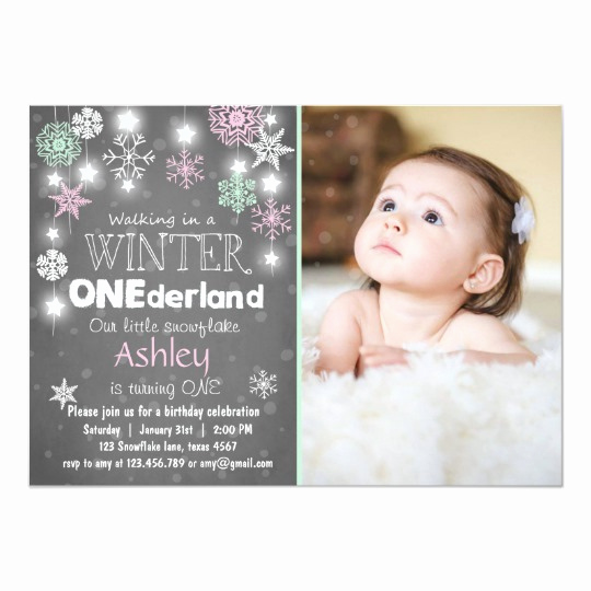 Winter One Derland Invitation Awesome Winter Ederland Birthday Party Invite Mint Pink