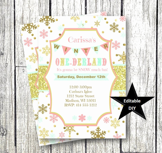 Winter One Derland Invitation Beautiful Winter Ederland Invitation Template Gold Pink Snowflake