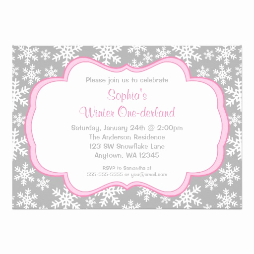 Winter One Derland Invitation Best Of Gray Snowflakes Winter Ederland Birthday 5x7 Paper