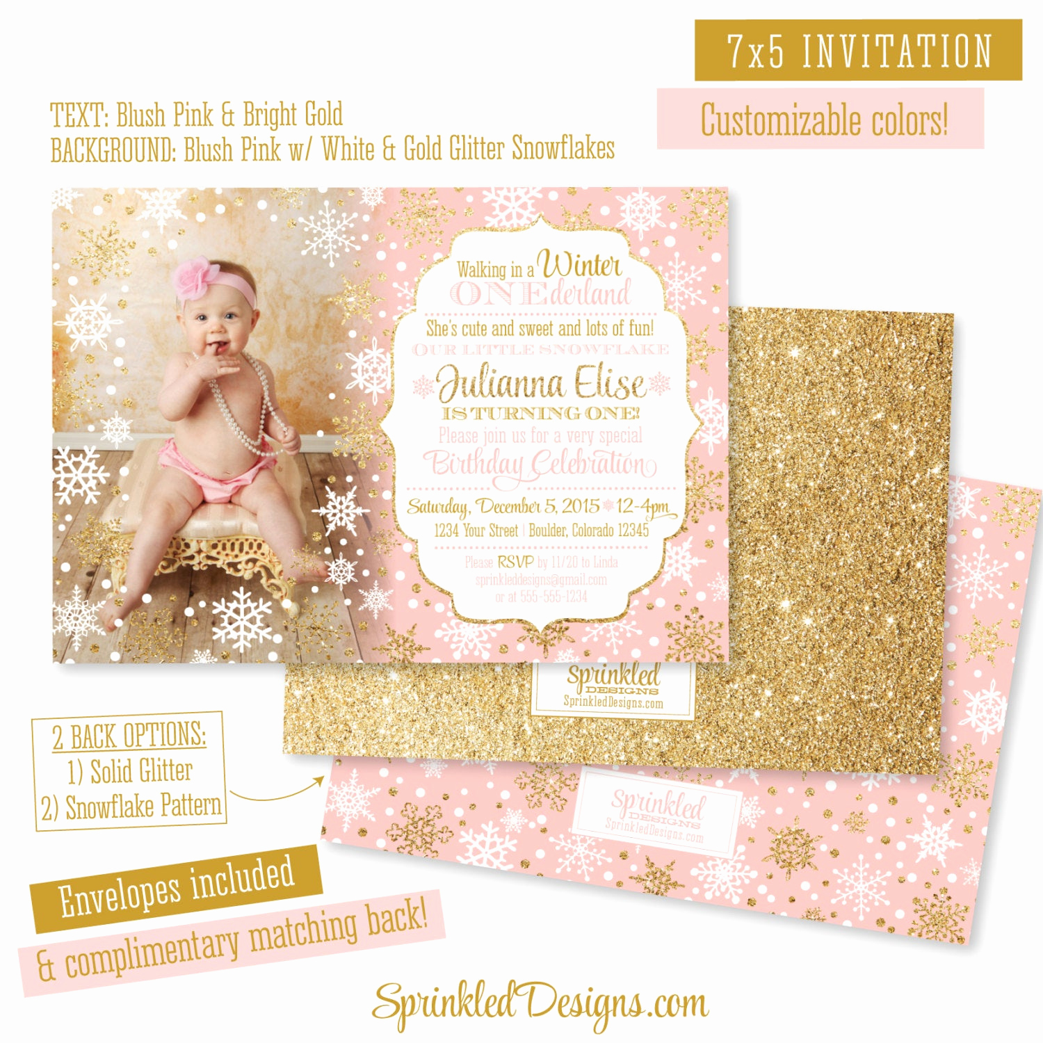 Winter One Derland Invitation Elegant Winter Onederland Invitation Girl Card Blush Pink Gold