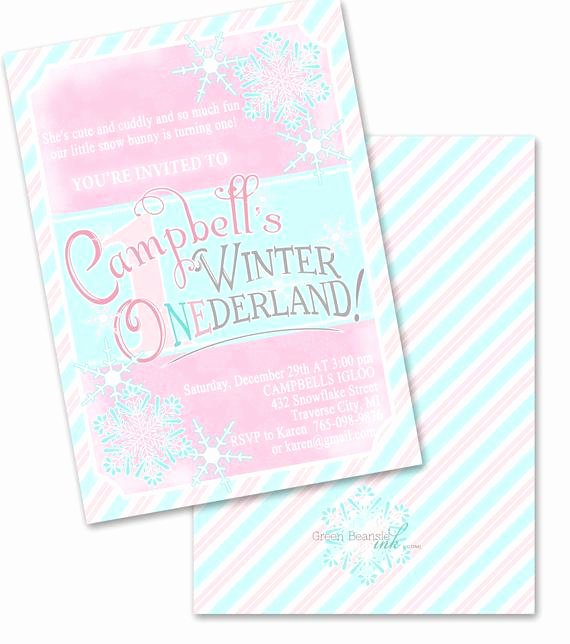 Winter One Derland Invitation Elegant Winter Onederland Printable Party Invitation Printing