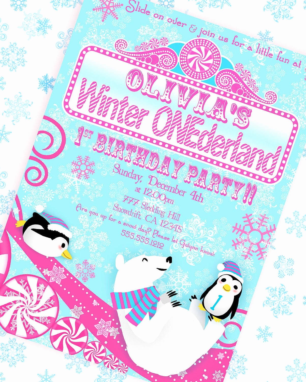 Winter One Derland Invitation Inspirational Winter Onederland Wonderland Invitation Pink and Aqua