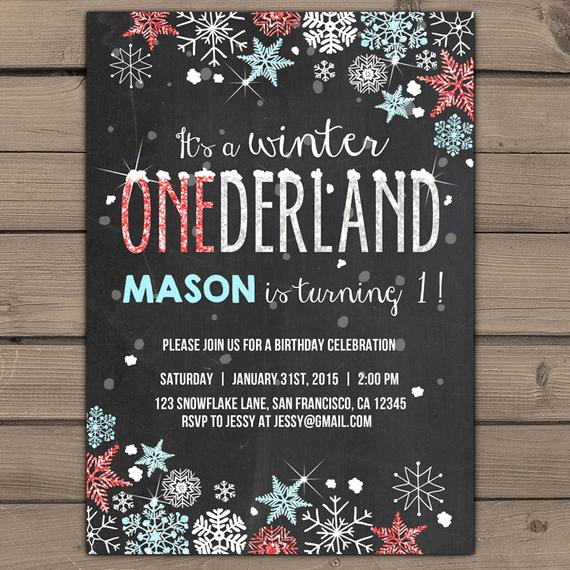 Winter One Derland Invitation Lovely Winter Onederland Invitation Birthday Party Invite Winter