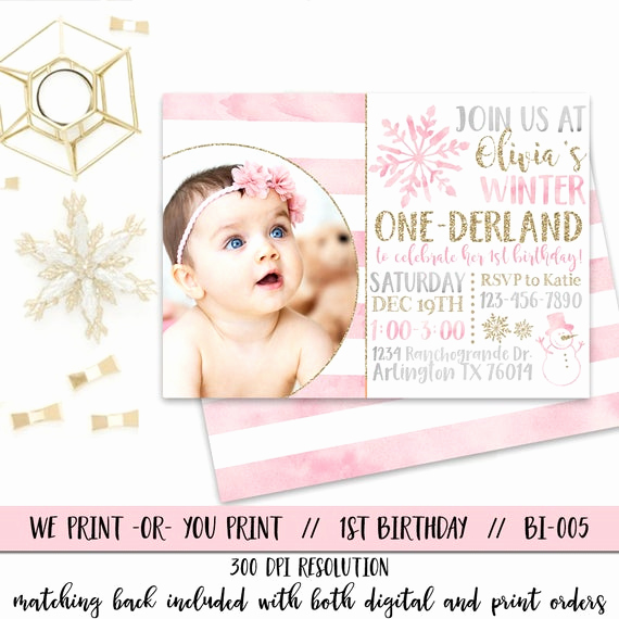 Winter One Derland Invitation Luxury Winter Ederland Invitation Girl Ederland Birthday