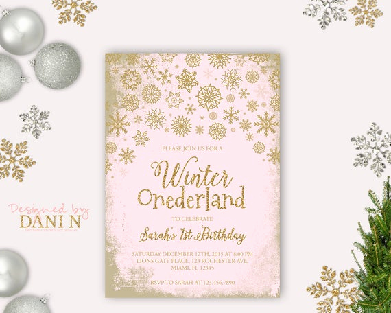 Winter One Derland Invitation New Gold Pink Winter Ederland Invitation Winter Birthday