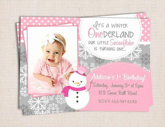 Winter One Derland Invitation Unique Winter Onederland Girly Snowman Pink & Grey Birthday Party