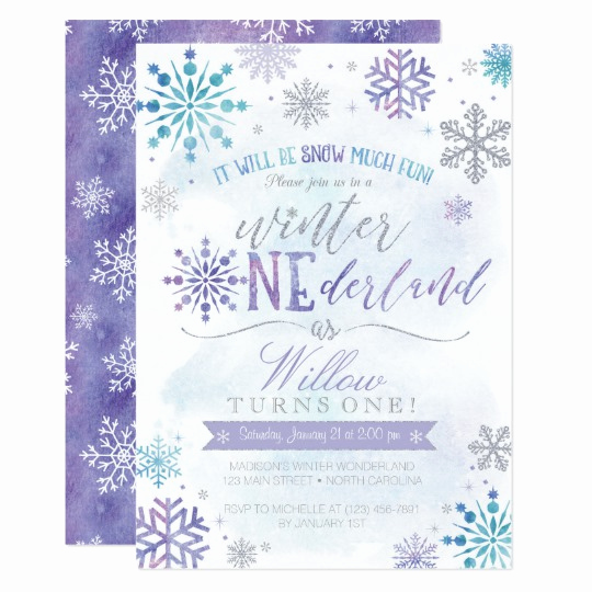 Winter One Derland Invitation Unique Winter Onederland Snowflake Birthday Invitation