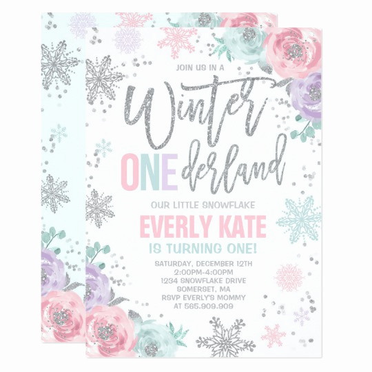 Winter One Derland Invitation Wording Awesome Winter Onederland Birthday Invitation Pink Silver