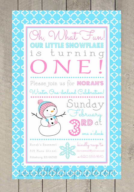 Winter One Derland Invitation Wording Beautiful Winter Onederland Invitations Girl by Littlelawsprints On Etsy