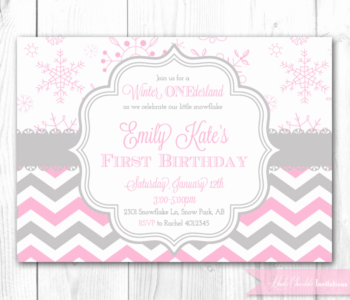 Winter One Derland Invitation Wording Best Of Winter Onederland Birthday Invitation In Pink & Gray Winter