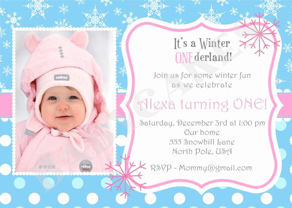 Winter One Derland Invitation Wording Elegant Winter Onederland Snowflake 1st Birthday Invitation by