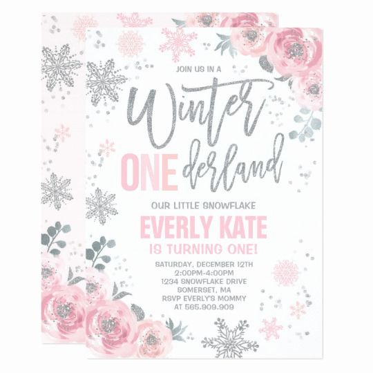 Winter One Derland Invitation Wording Fresh Winter Onederland Birthday Invitation Pink Silver