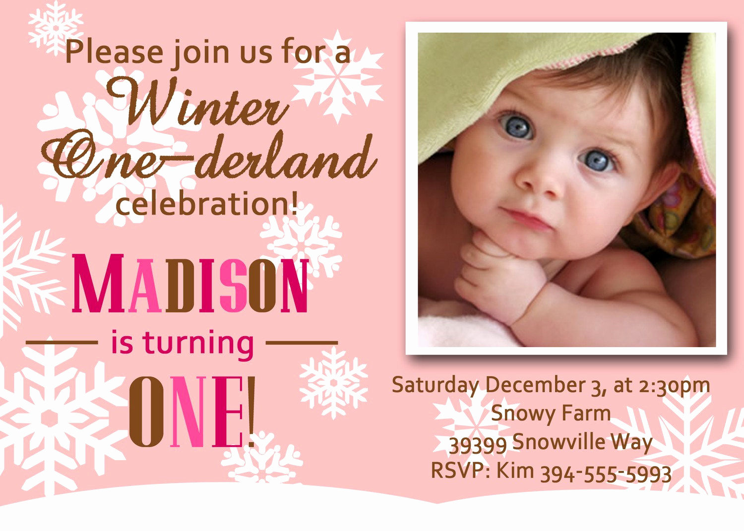 Winter One Derland Invitation Wording Inspirational Girl Winter Onederland Invitation with Snowflakes Perfect for