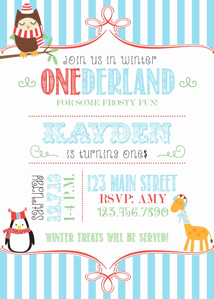 Winter One Derland Invitation Wording Inspirational Winter Ederland Party Invitation