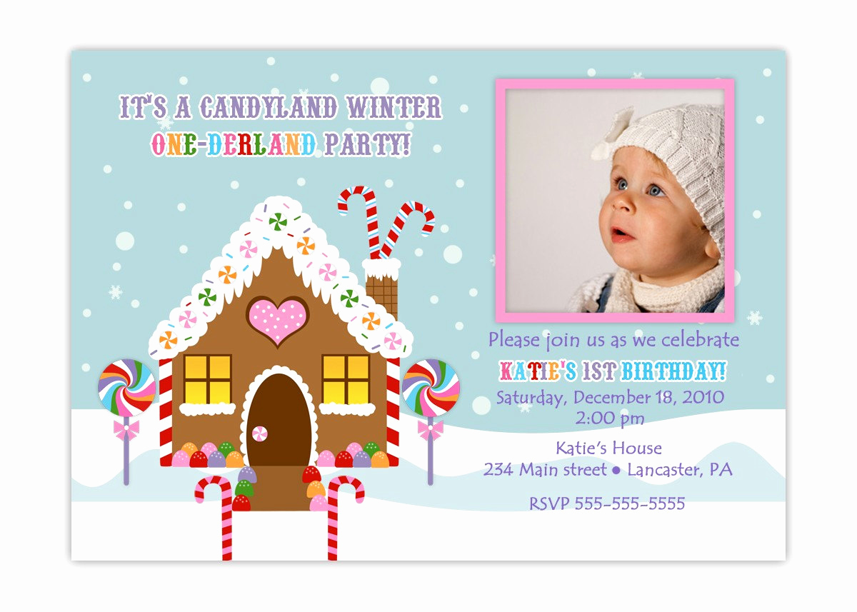 Winter One Derland Invitation Wording Inspirational Winter Onederland Candyland Birthday Invitation You Print