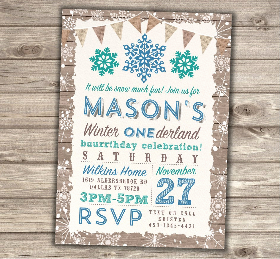 Winter One Derland Invitation Wording Lovely Boy Winter Ederland Invitations Birthday 1st Party Our