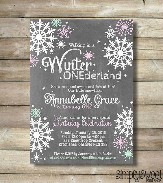 Winter One Derland Invitation Wording New Winter Onederland Girl Birthday Party Invite Invitation