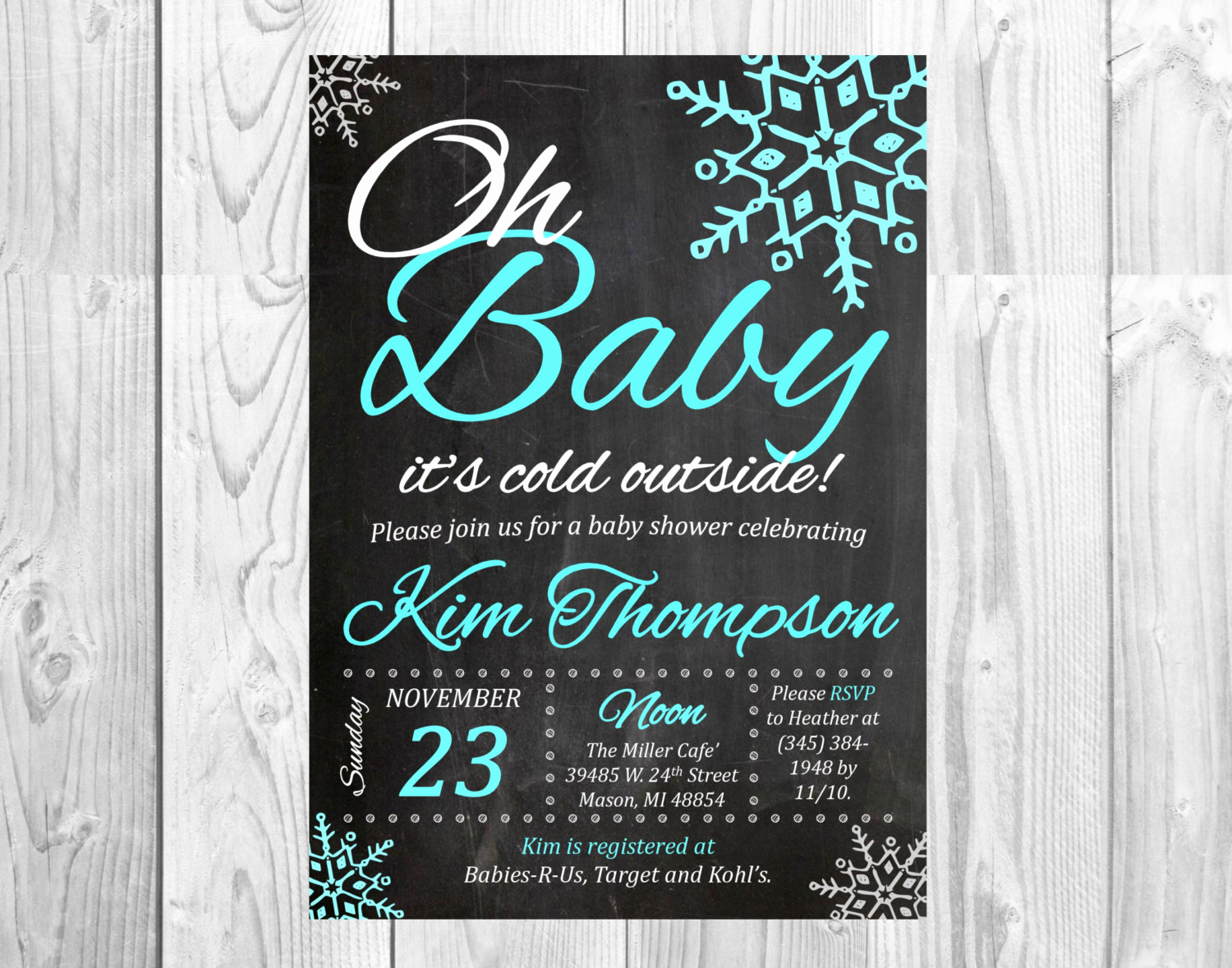 Winter Wonderland Baby Shower Invitation Awesome Winter Wonderland Baby Shower Chalkboard Invitation
