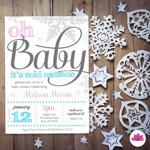 Winter Wonderland Baby Shower Invitation Best Of Baby Shower Invitation Winter Wonderland theme by