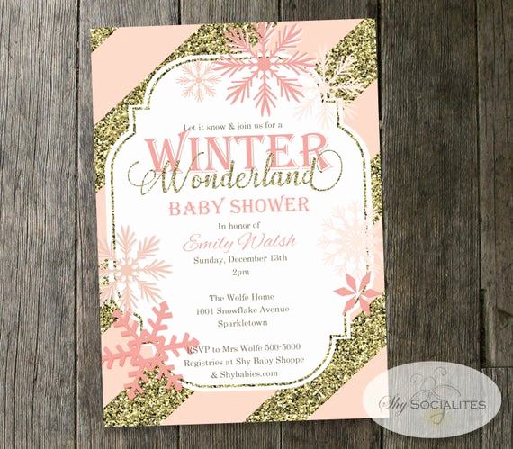 Winter Wonderland Baby Shower Invitation Elegant Winter Wonderland Baby Shower Invitation Snowflakes Blush
