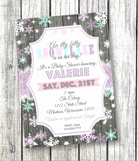 Winter Wonderland Baby Shower Invitation Fresh Snowflake Baby Shower Invitation Winter Wonderland by