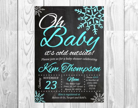 Winter Wonderland Baby Shower Invitation Inspirational Winter Wonderland Baby Shower Chalkboard Invitation