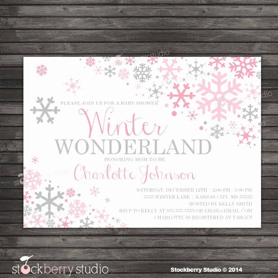 Winter Wonderland Baby Shower Invitation Lovely Winter Girl Baby Shower Invitation Printable Pink and Gray