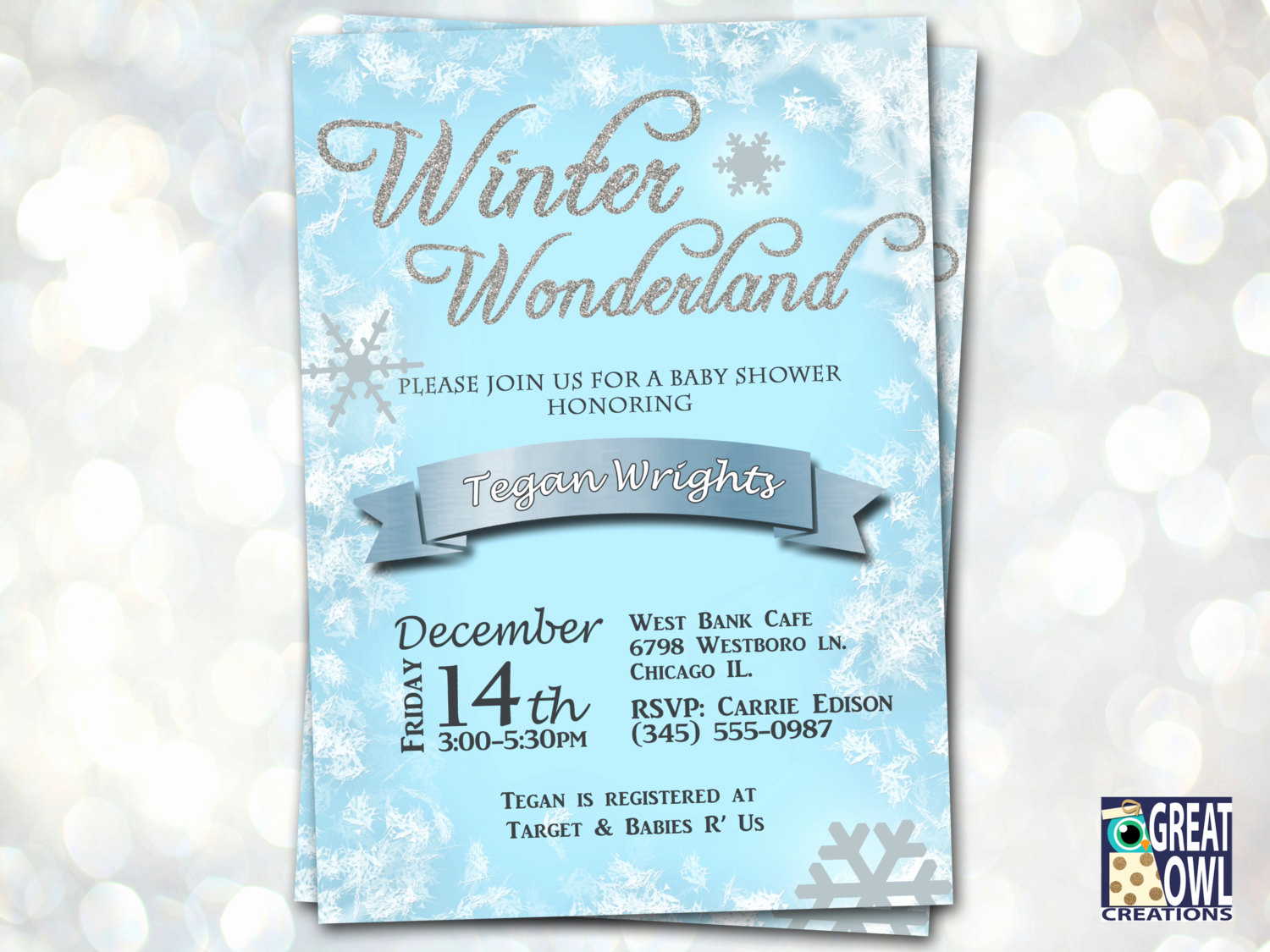 Winter Wonderland Baby Shower Invitation Luxury Chandeliers & Pendant Lights