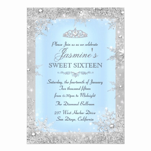 Winter Wonderland Invitation Ideas Beautiful Silver Winter Wonderland Blue Sweet 16 Invitation