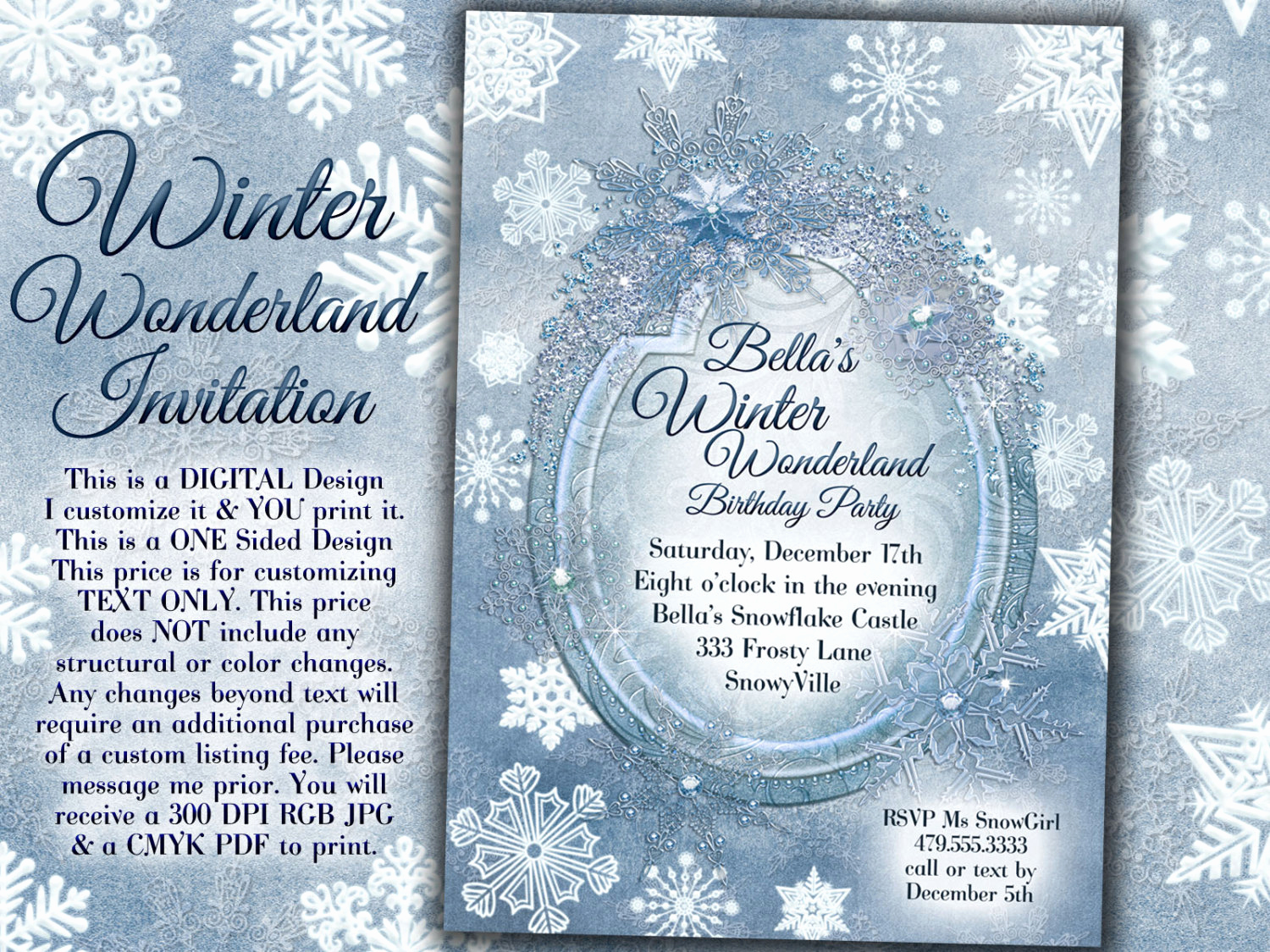Winter Wonderland Invitation Ideas Elegant Winter Wonderland Party Winter Snowflake Invitation Winter