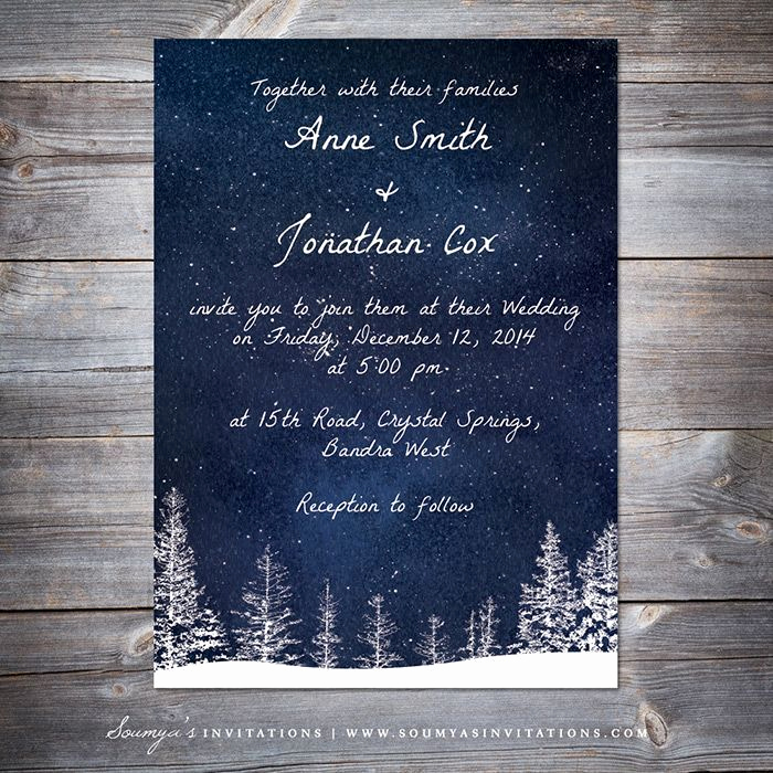 Winter Wonderland Invitation Ideas Luxury Winter Wedding Invitation Navy Blue Starry Night Sky