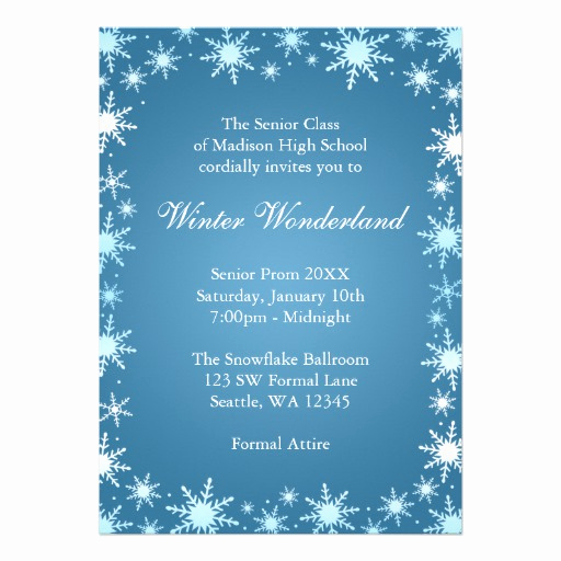 "Winter Wonderland Invitation Ideas New Winter Wonderland Prom Invitations 5"" X 7"" Invitation Card"