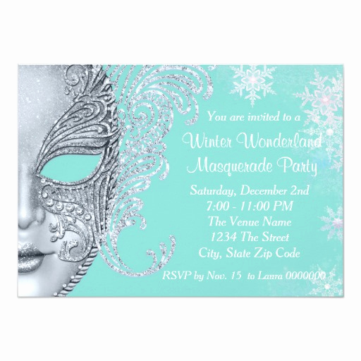 Winter Wonderland Invitation Ideas Unique Teal Blue Winter Wonderland Masquerade Party Card