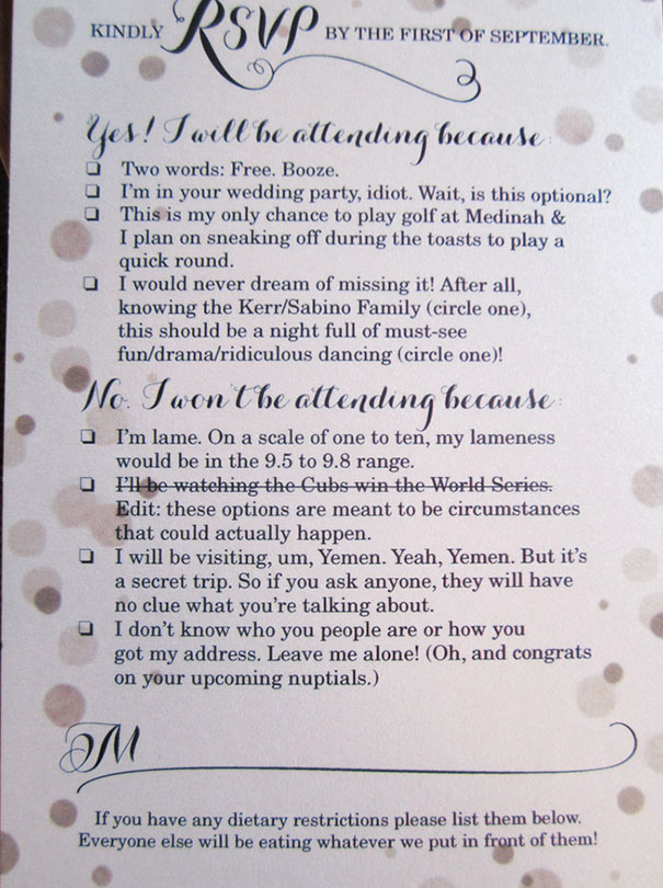Witty Wedding Invitation Wording Beautiful 9 Hilarious Wedding Invitations that Simply Can't Be