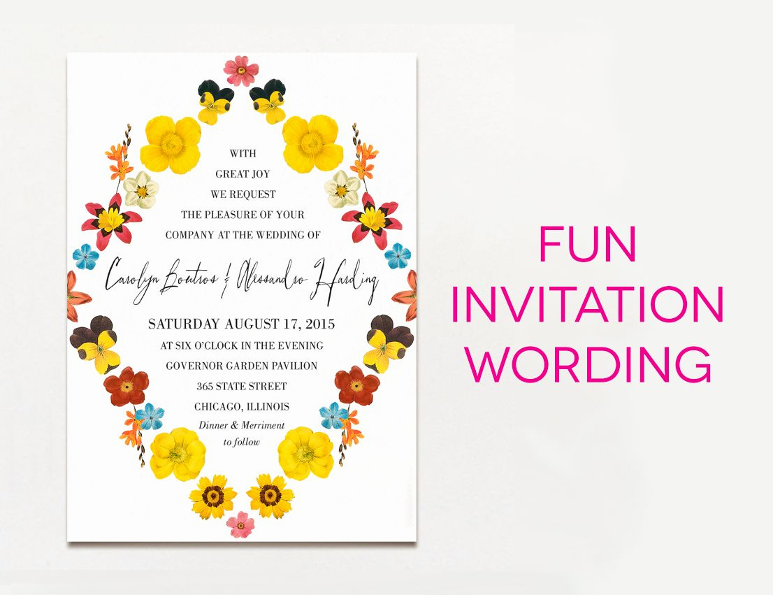 Witty Wedding Invitation Wording Fresh Wedding Invitation Wording Examples In Every Style
