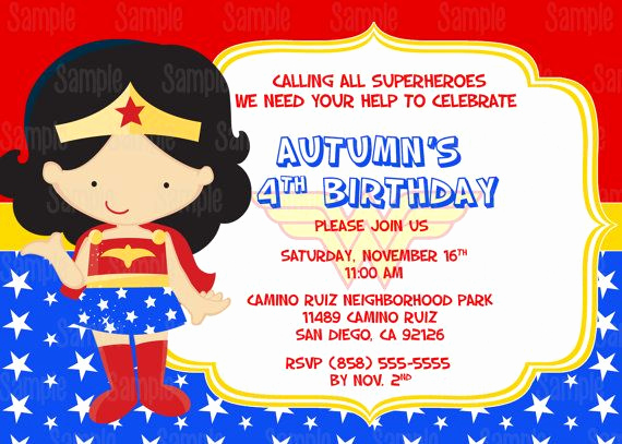 Wonder Woman Invitation Template Awesome Printable Wonder Woman Birthday Party Invitation Plus Free