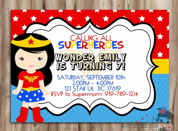 Wonder Woman Invitation Template Fresh Wonder Woman Birthday Invitation Superhero by Kawaiikidsdesign