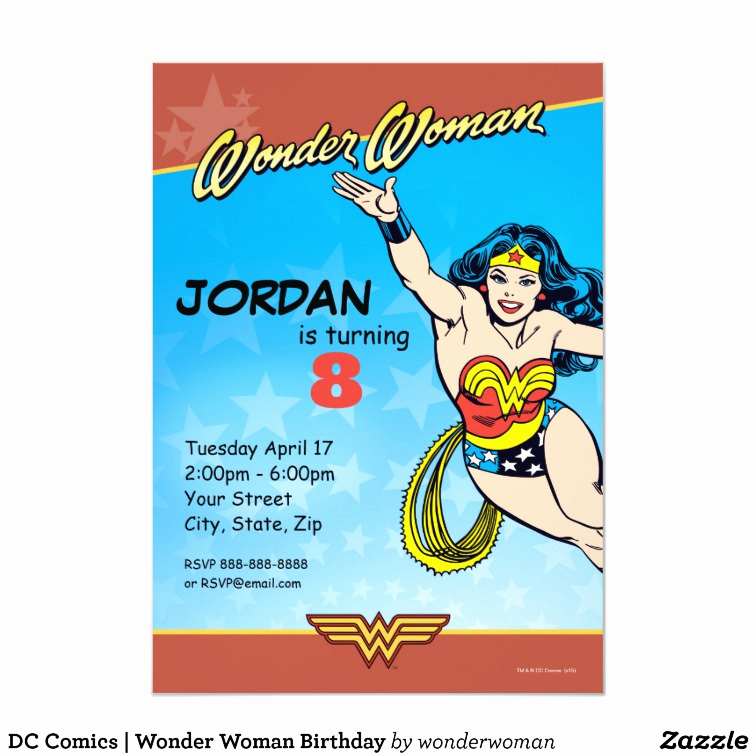 Wonder Woman Invitation Template Inspirational Wonder Woman Birthday Card