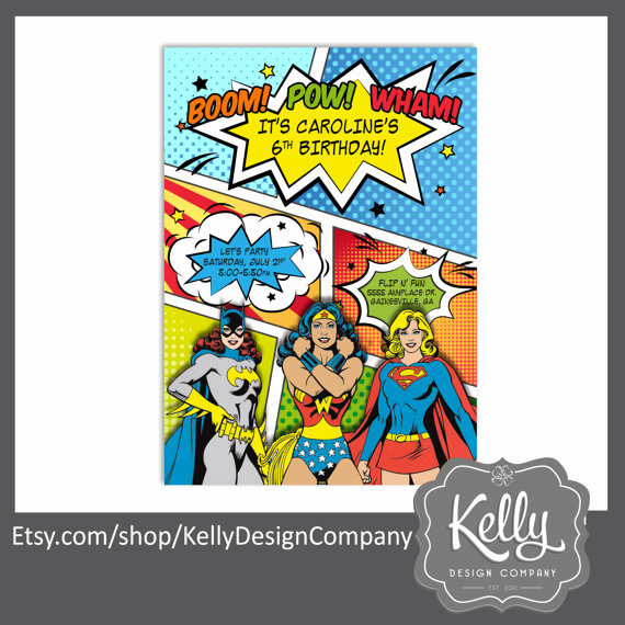 Wonder Woman Invitation Template Lovely Super Es Of Dc Ics Party Invitation Wonder Woman