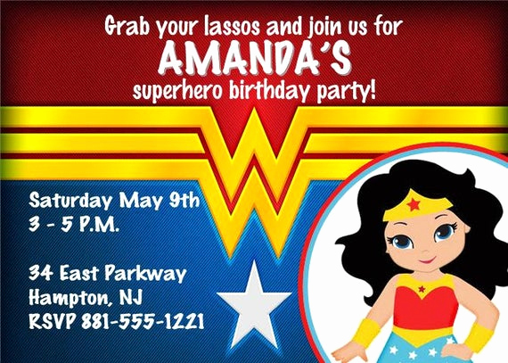 Wonder Woman Invitation Template Luxury Wonder Woman theme Personalized Printable by