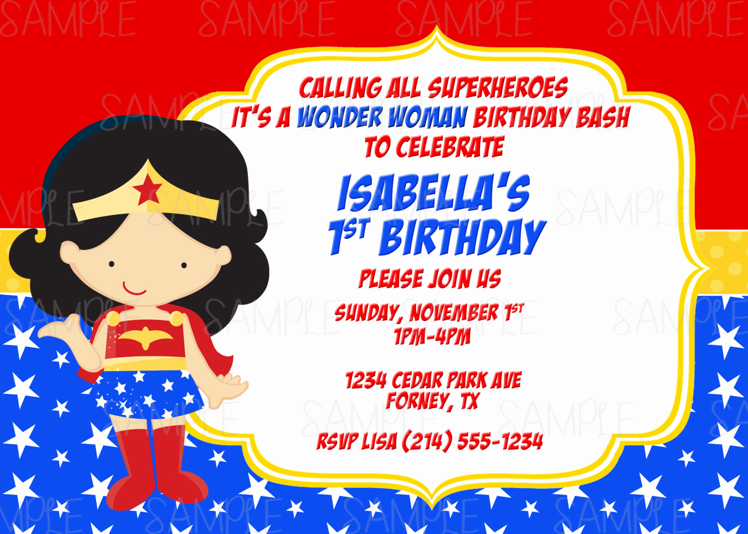Wonder Woman Invitation Template Unique Printable Wonder Woman Birthday Party Invitation Plus Free