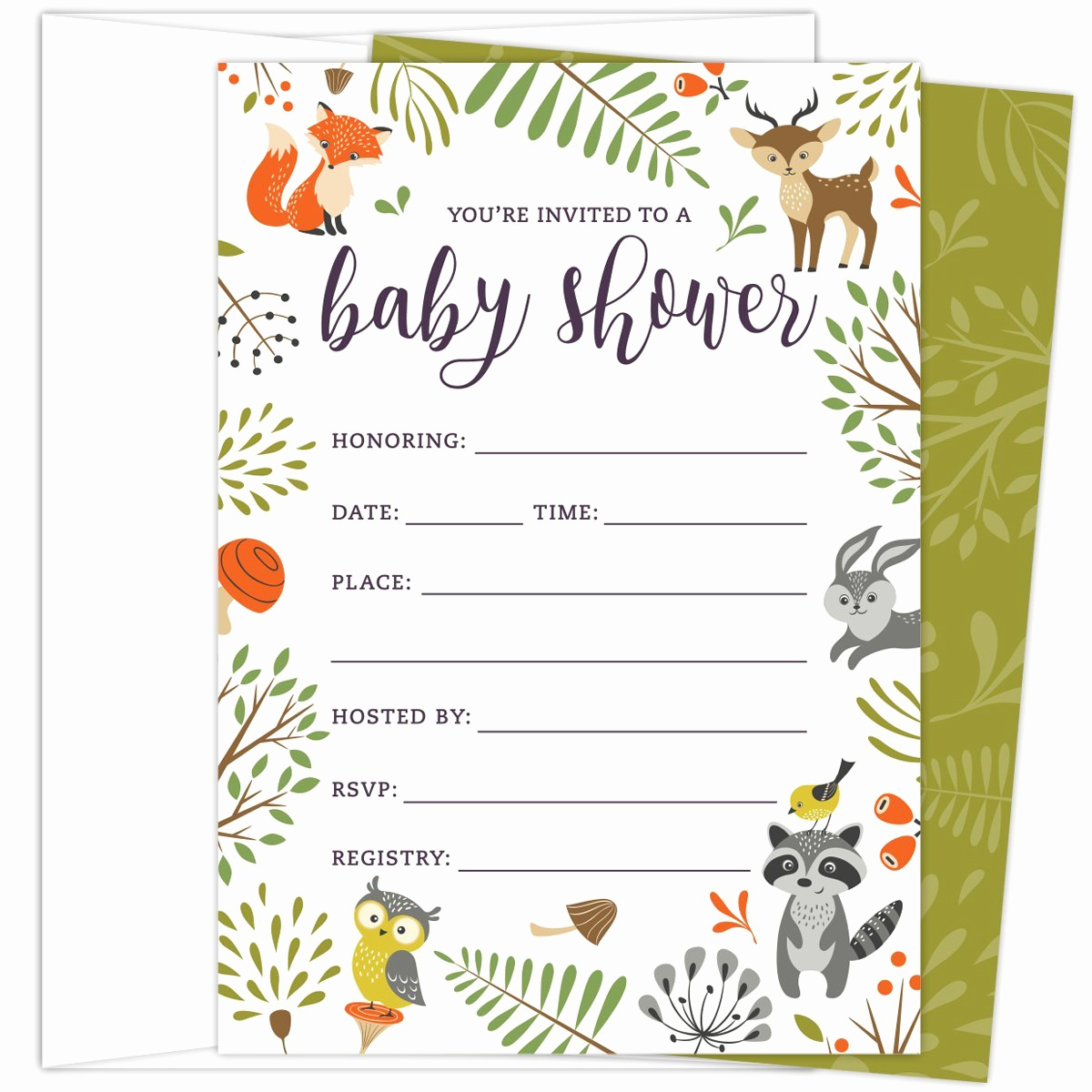 Woodland Baby Shower Invitation Beautiful Amazon Woodland Animal Thank You Cards 20 Count