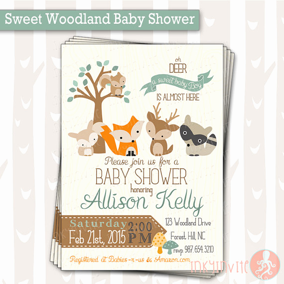 Woodland Baby Shower Invitation Beautiful Sweet Woodland Baby Shower Invitation Baby Boy Woodland