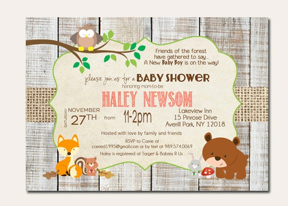 Woodland Baby Shower Invitation Elegant forest Animal Baby Shower Invitations Woodland Baby Shower
