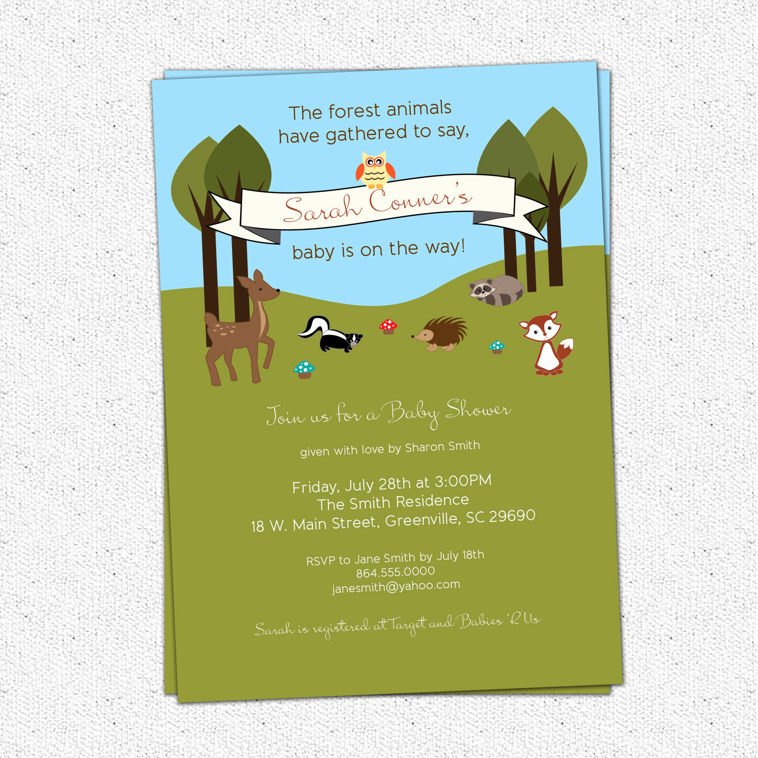 Woodland Baby Shower Invitation Elegant Printable Baby Shower Invitation Woodland Animals Creatures