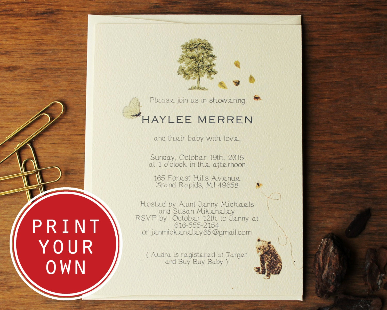 Woodland Baby Shower Invitation Elegant Woodland Baby Shower Invitation Diy Printable Vintage Baby