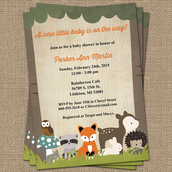 Woodland Baby Shower Invitation Elegant Woodland Baby Shower Invitations with forest Animals Wood