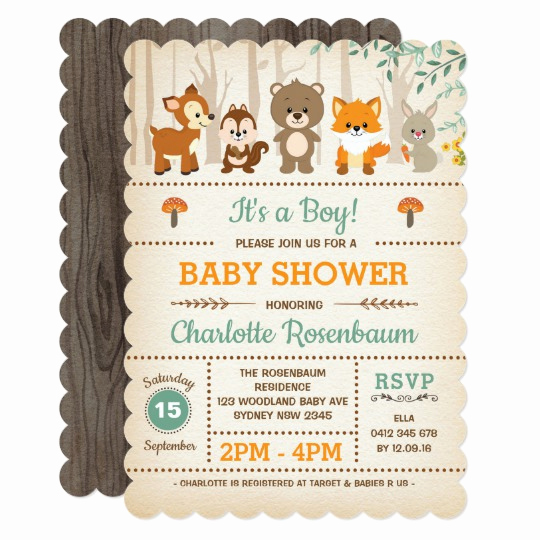 Woodland Baby Shower Invitation Inspirational Woodland Baby Shower Invitation forest Animals