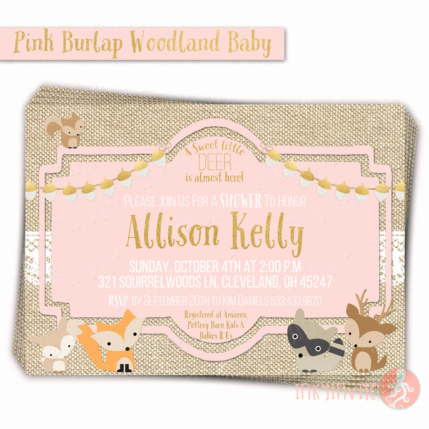 Woodland Baby Shower Invitation Lovely Pink Burlap Woodland Baby Shower Invitation Baby Girl
