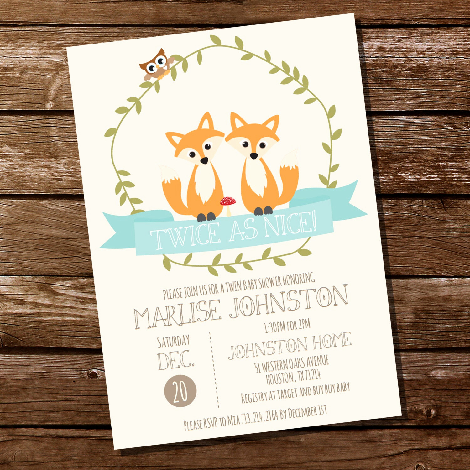 Woodland Baby Shower Invitation Lovely Woodland Twin Baby Shower Invitation for A Boy or Girl